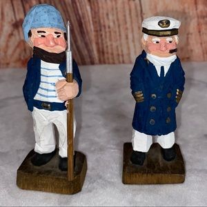 Hand Carved Wooden Captain and Sailor Mate